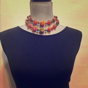Vintage 3strand chunky beaded necklace